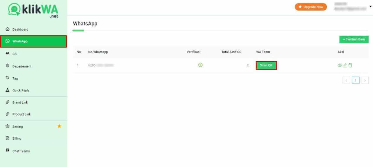 Cara Scan QRCode dan Aktifkan KlikWA Teams - KlikWA