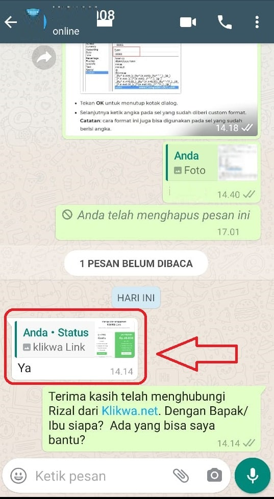 Costumer Reply Status Whatsapp