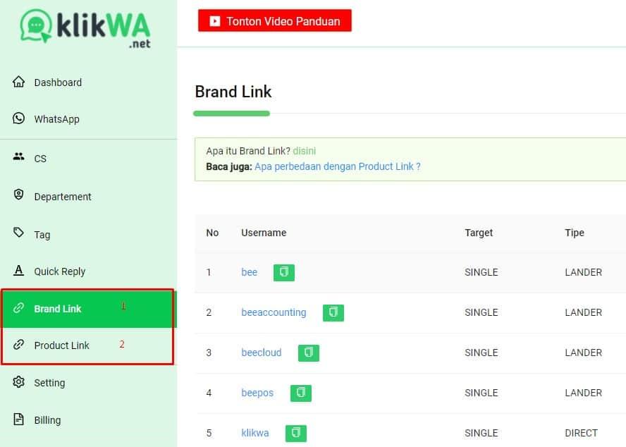 klik Produk link